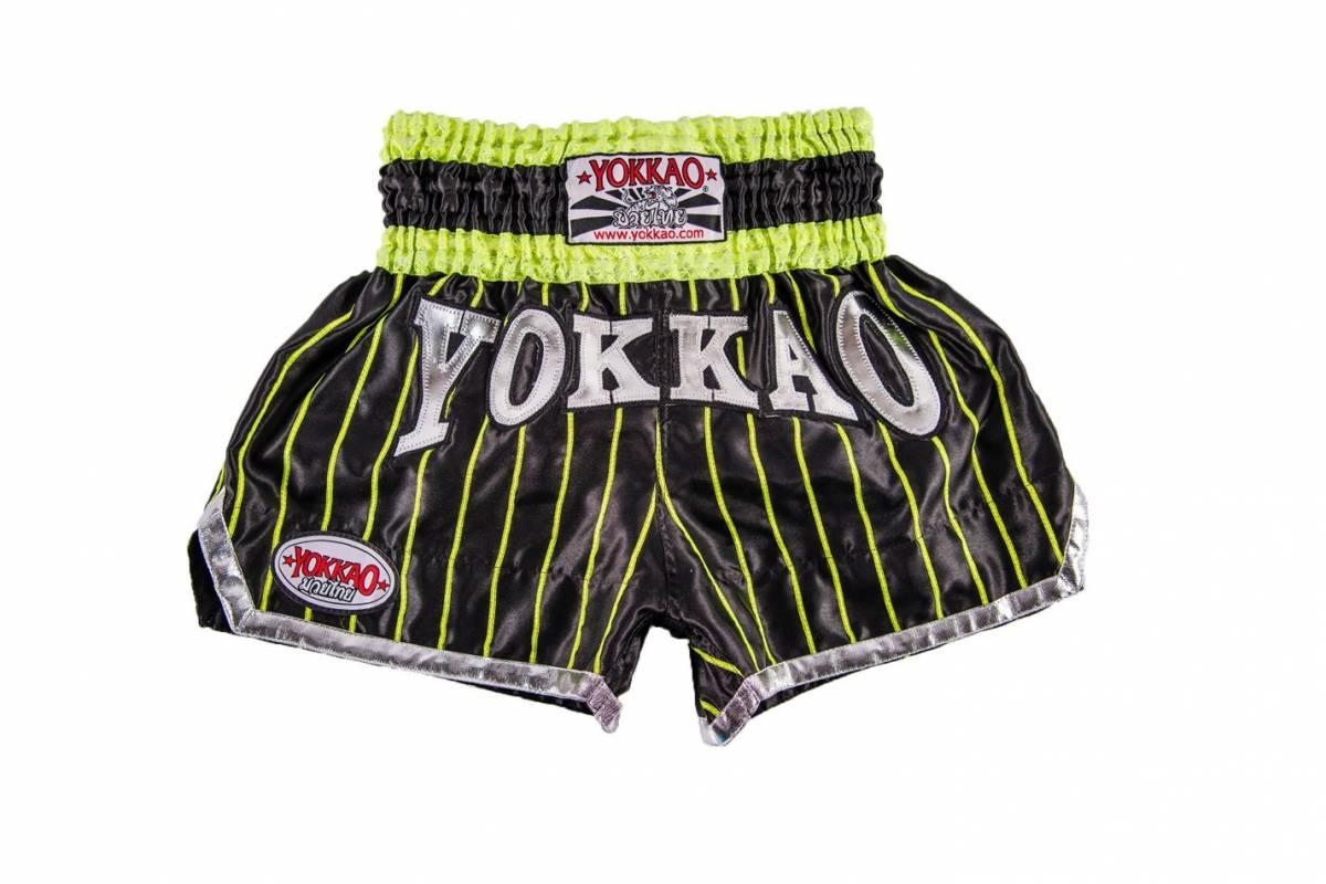 yokkao-pinstripe-satin-muay-thai-shorts-black-neon-green-ef1-3