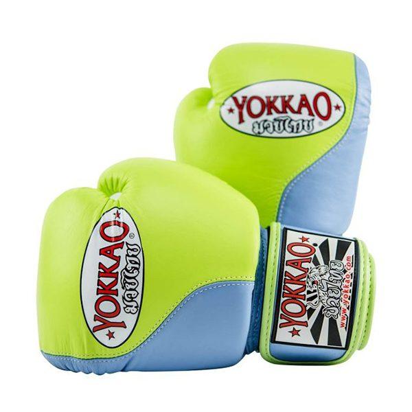 YOKKAO BOXING GLOVES 10,12,14oz DOUBLE IMPACT MARINA//LIME MUAYTHAI PROFESSIONAL